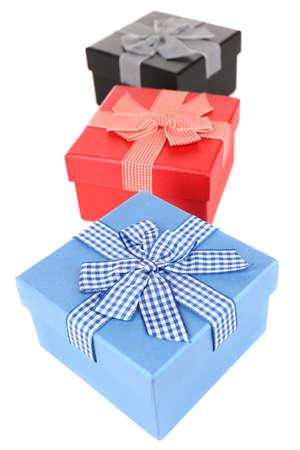 Gift boxes isolated on white photo