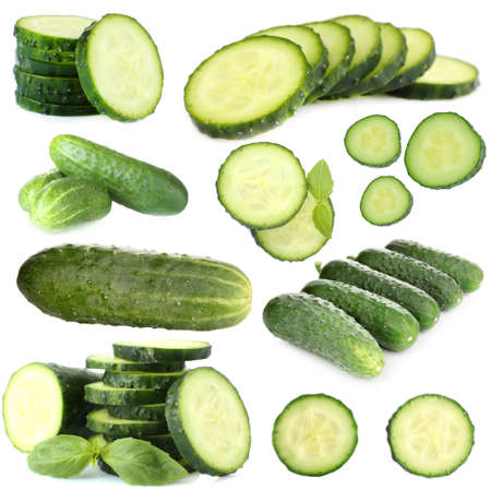 cuke: Collage of cucumber isolated on white
