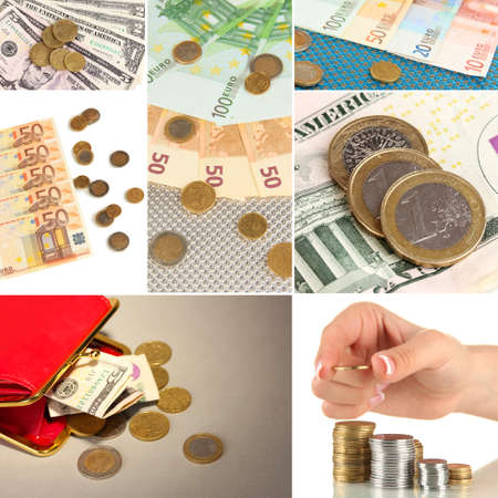 dividend: Collage of money Stock Photo