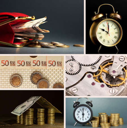 Business collage. Concept of time and money photo
