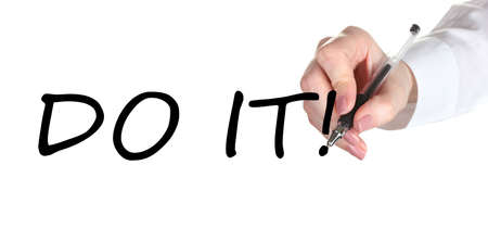 Do it hand writing on transparent board photo