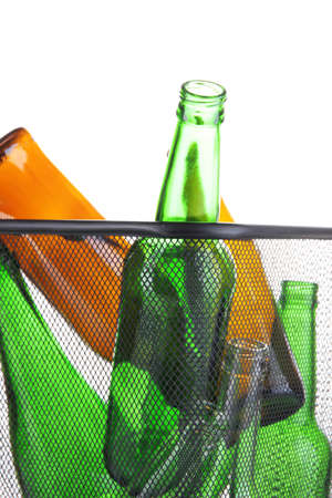 tare: Glass bottles in recycling bin isolated on white