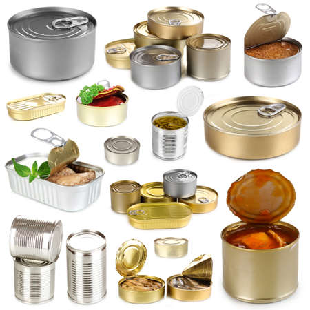 hermetic: Collage of tin cans with food isolated on white
