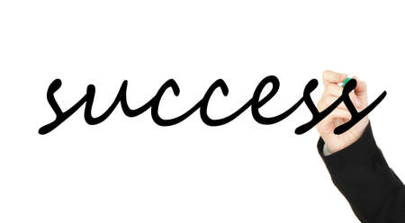 Hand writing word Success on transparent board photo