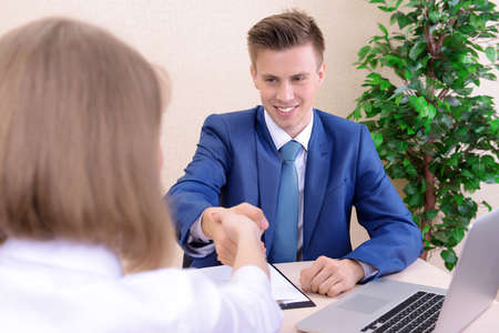 Job applicant having interview photo