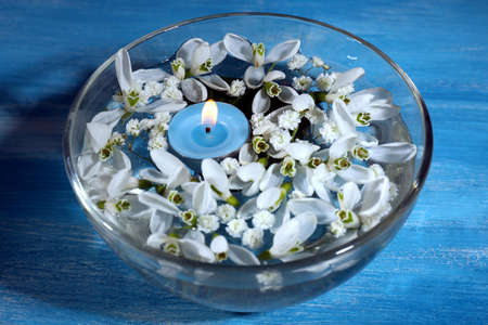 Beautiful snowdrops and candle in glass bowl with water, on blue background photo