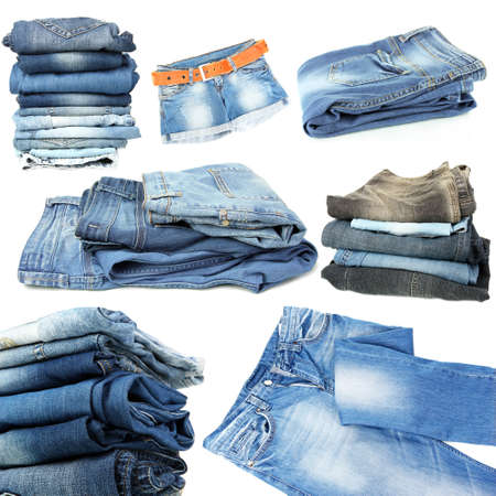 Collage of jeans isolated on white photo