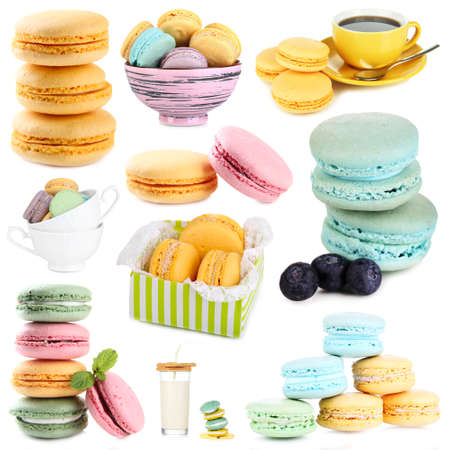 Tasty macaroons isolated on white photo