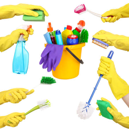 Cleaning items in hands isolated on white photo