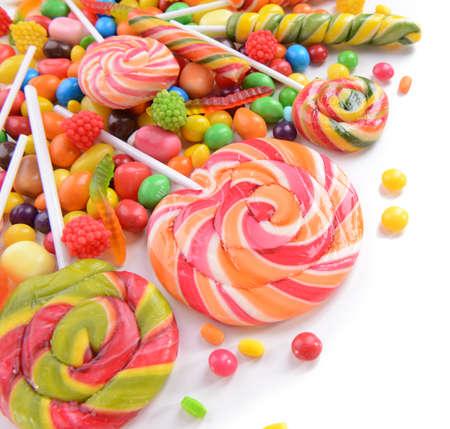 Différents fruits bonbons colorés close-up