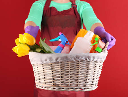 Housewife holding basket with cleaning equipment on color background. Conceptual photo of spring cleaning.  photo