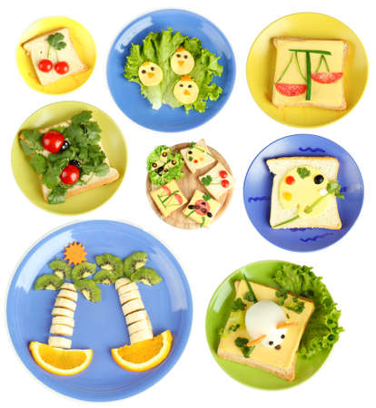 Collage of fun food for kids isolated on white photo