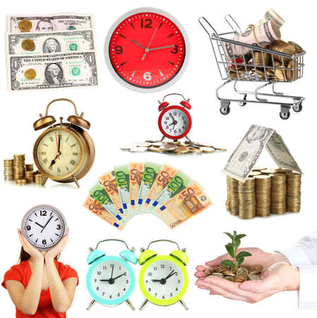 dividend: Business collage. Concept of time and money