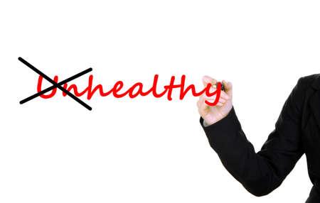 Human hand turning word unhealthy into healthy photo