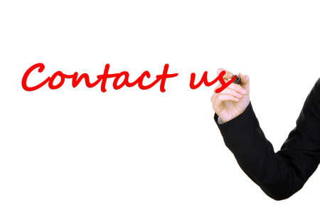 Hand writing Contact us on transparent board photo
