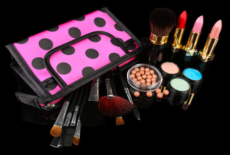 Professional make-up tools on black  photo