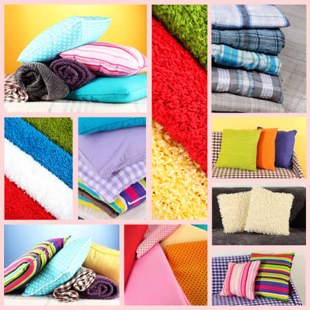 Collage of plaids and color pillows photo