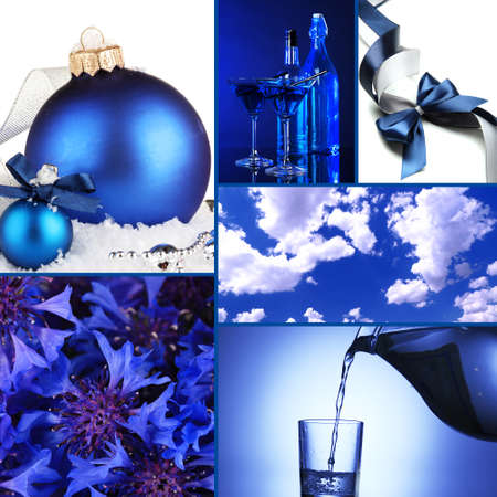 Collage of photos in blue colors photo