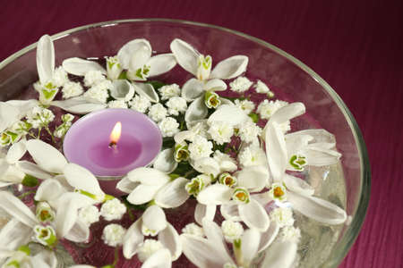 Beautiful snowdrops and candle in glass bowl with water, on purple background photo