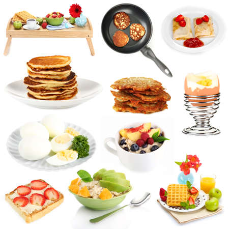 Breakfast collage isolated on white Stock Photo - 26886444