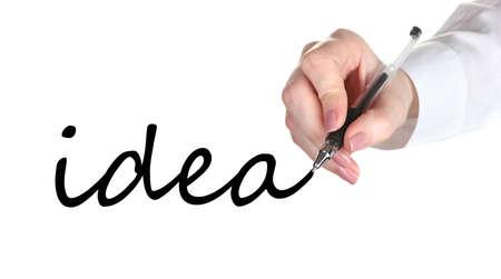 Idea hand writing on transparent board photo