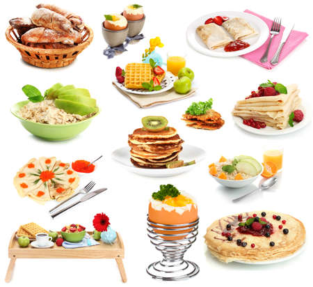 Breakfast collage isolated on white Stock Photo - 26887238