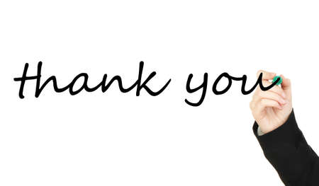 Hand writing Thank you on transparent board photo