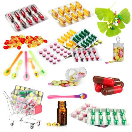 Collage de los productos farmacéuticos aislados en blanco
