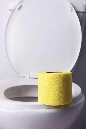 bowel movement: Toilet paper on a toilet, close-up Stock Photo