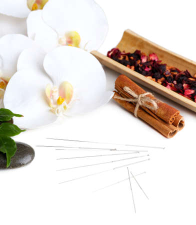 Composition with needles for acupuncture, isolated on white Stock Photo - 26970164