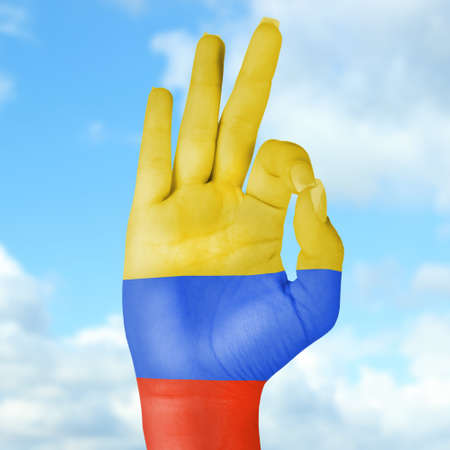 Flag of Colombia painted on hand photo