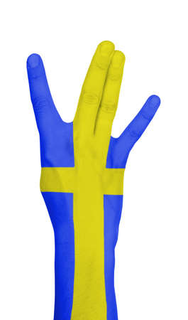 Flag of Sweden painted on hand photo