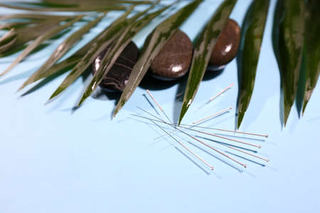 Composition with needles for acupuncture, close up. Stock Photo - 26970007