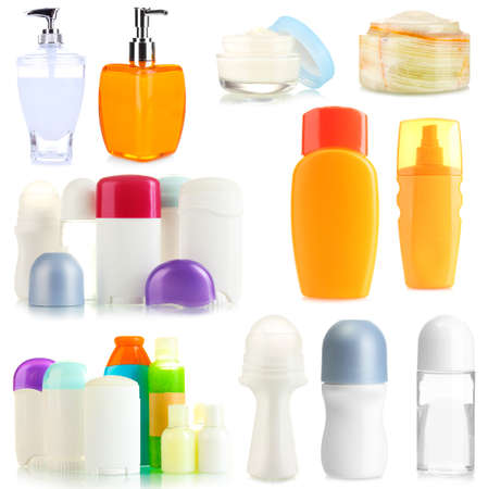 Collage of cosmetic bottles isolated on white photo