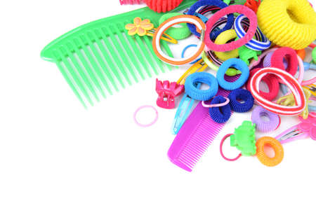 scrunchy: Colorful comb,barrette and Scrunchy isolated on white