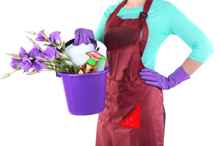 Housewife holding bucket with cleaning equipment. Conceptual photo of spring cleaning. Isolated on white Stock Photo - 27035454