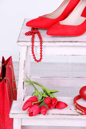 Beautiful red female accessories  photo