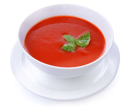 Tasty tomato soup, isolated on white photo