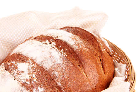 Rye bread in basket close up photo