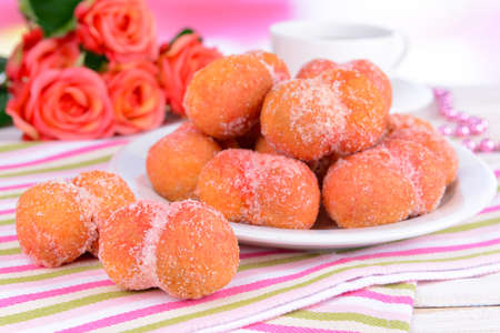 Delicious cookies peaches on table close-up photo