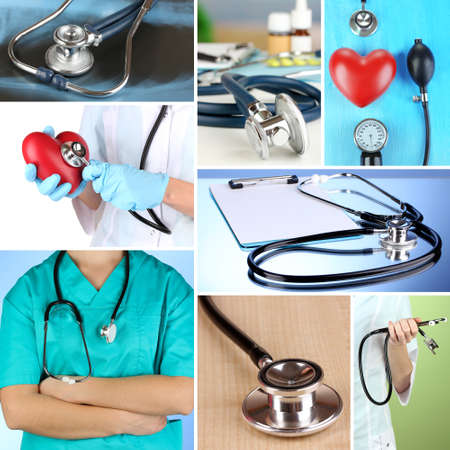 Collage of medical stethoscope photo