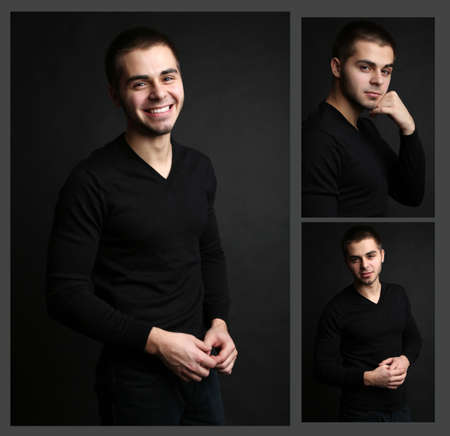 likable: Snapshot of model. Handsome man on black  Stock Photo