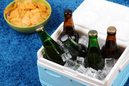 ice chest: Ice chest full of drinks in bottles on color carpet background