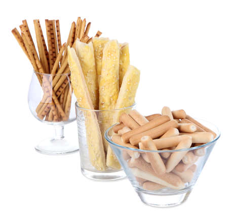 breadstick: Bread sticks in glasses isolated on white