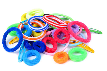 scrunchy: Colorful barrette and Scrunchy isolated on white Stock Photo
