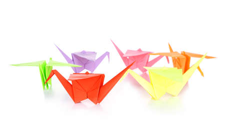 Origami cranes, isolated on white photo