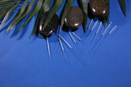 Composition with needles for acupuncture, close up. photo