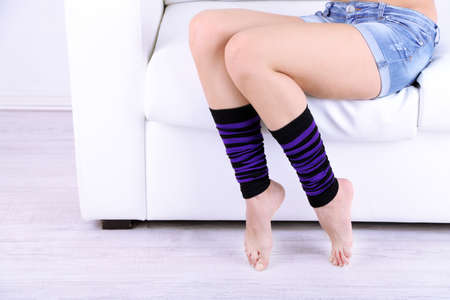 Gaiters on perfect woman legs, close up Stock Photo - 27164982