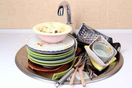 appalling: Kitchen utensils need wash close up Stock Photo