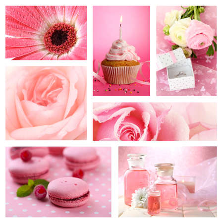 Collage of photos in pink colors photo